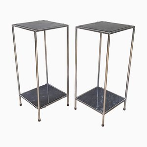 Marble and Chrome Nightstands, 1970s, Set of 2