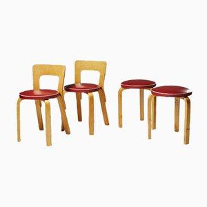 Stühle und Hocker von Alvar Aalto für Artek, Finnland, 1950er, 4er Set
