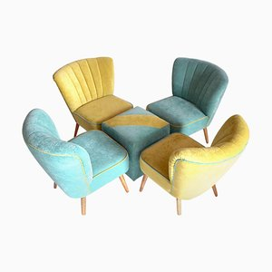 Ladies Lounge Chairs with Footstool, 1960s, Set of 5