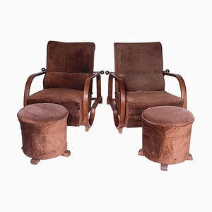 Art Deco Armchairs with Footstools, 1920s, Set of 4
