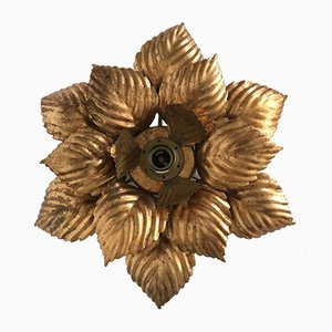 Hollywood Regency Flower Leaf Wall or Ceiling Lamp, 1970s