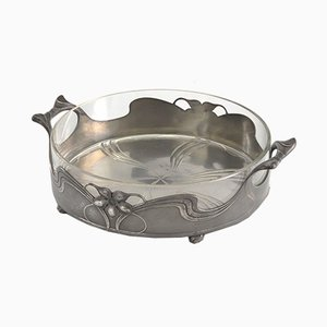 Art Nouveau Pewter and Cut Glass Lined Centrepiece Bowl from Orivit, 1910s