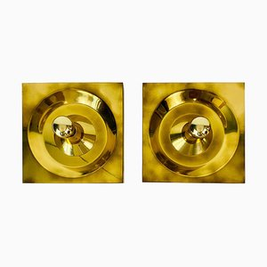Brass Flush Mounts or Wall Lamps by Klaus Hempel for Kaiser Leuchten, 1970s, Set of 2