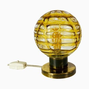 Frosted Ice Glass and Brass Table Lamp from Doria Leuchten, 1970s