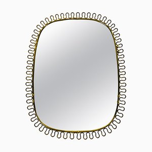 Italian Brass Framed Wall Mirror, Italy, 1960s