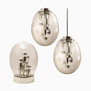 Space Age Sputnik Light Fixtures by Doria Leuchten Germany, 1970s, Set of 3