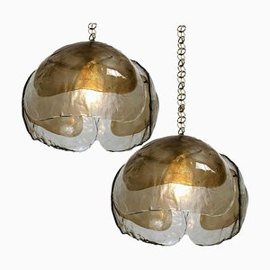 Smoked Glass and Brass Chandelier Pendant Lamps by J.T. Kalmar, 1970s, Set of 2