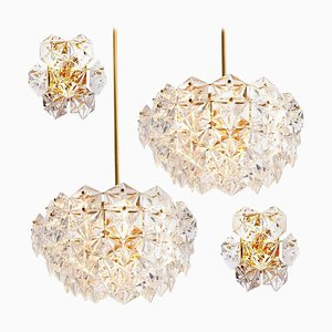 Faceted Crystal and Gilt Metal Light Fixtures by Kinkeldey, Germany, 1960s, Set of 4
