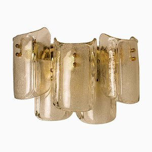 Large Massive Glass Wall Sconce in the Style of Kalmar, 1969