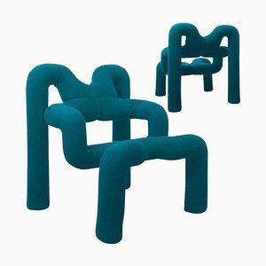 Petrol Blue Armchairs by Terje Ekstrom, Norway, 1980s, Set of 2