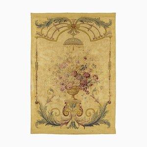 Arazzo Aubusson ottocentesco con un vaso di fiori