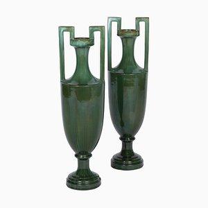 Amphora Vases in Green Earthenware, 1920s, Set of 2