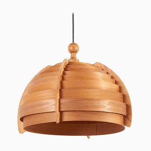 Wooden Pendant Lamp by Hans-Agne Jakobsson for Ellysett, Sweden, 1960s
