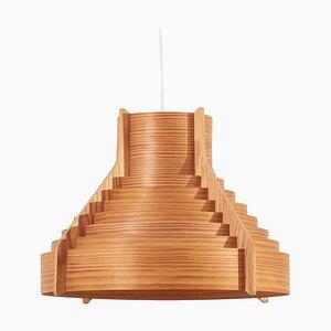 Lampada a sospensione grande in legno di Hans-Agne Jakobsson per Ellysett, Svezia, anni '60