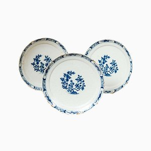 18th Century Dutch Delft Blue and White Plates, Set of 3