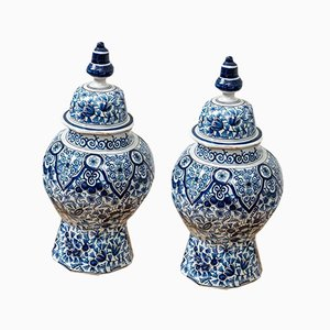 Antique Dutch Blue and White Delft Lidded Pots, 1900s, Set of 2