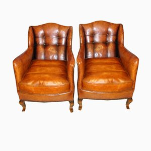 19th Century Swedish Leather Chairs, Set of 2