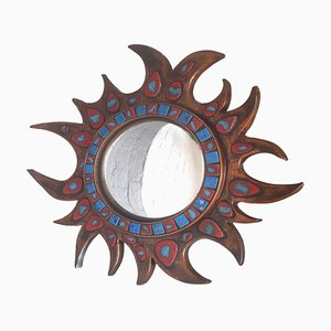 Resin and Ceramic Sunburst Mirror, 1950s