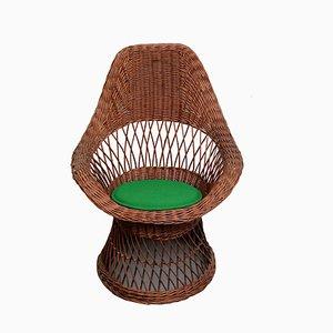 Sessel aus Korbgeflecht, 1950er