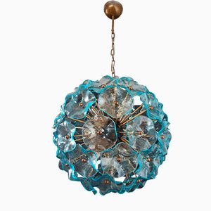 Lámpara de techo Sputnik italiana vintage de vidrio azul, 1982