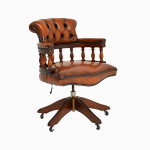 Mahogany & Leather Swivel Captains Desk Chair, 1950s