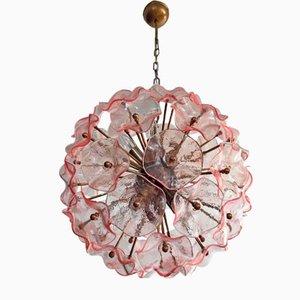 Italienische Vintage Sputnik Deckenlampe in Rosa Glas, 1982