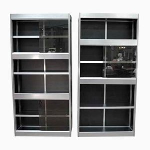 Modular Wood, Aluminum Cabinets with Sliding Glass Doors, 1970s, Set of 2