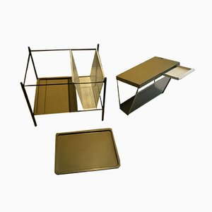 Newspaper Rack & Tray by Tjerk Reijenga for Pilastro, 1960s, Set of 2