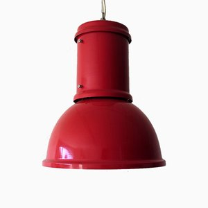 Large Vintage Industrial Red Pendant Lamp from Candle, 1970s