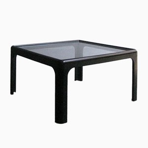 Black Lacquered Wood and Glass Coffee Table, 1970s