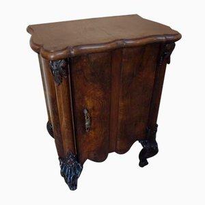 Italian Baroque Rococo Walnut Burl Nightstand, 1850s