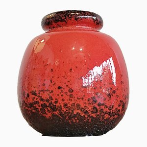 Red and Black Nr. 284/19 Ceramos Ball Vase from Scheurich, 1970s