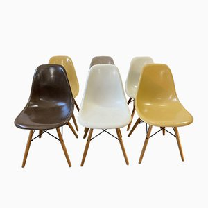 Mid-Century Brown & Greige Oak DSW Dining Chairs by Charles & Ray Eames for Herman Miller, Set of 6