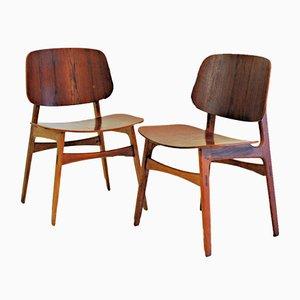 Shell Chairs in Oak and Teak by Børge Mogensen for Søborg Møbelfabrik, 1950s, Set of 2
