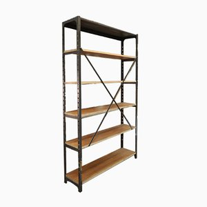 Antique Industrial Metal and Oak Adjustable Shelf, 1900s