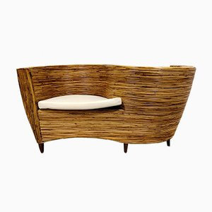 Curved Rattan Sofa Chair from Vivai del Sud, 1980s