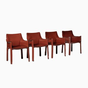 Model 413 Cab Armchairs by Mario Bellini for Cassina, 1977, Set of 4