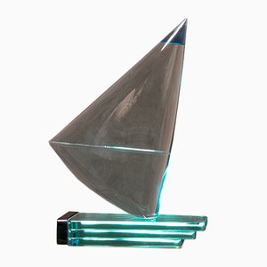 Clear and Blue Murano Glass Sailboat Sculpture, 1970s