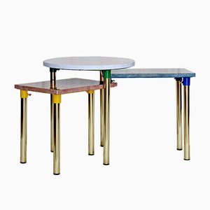 Coffee Tables with Brass Structure, 1970s, Set of 3