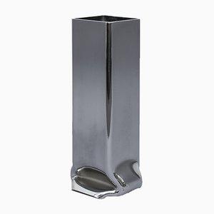 Vaso alto quadrato in metallo cromato di Tim Teven Studio