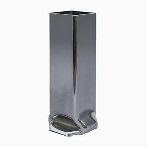 Viereckige Verchromte Hohe Druck Vase von Tim Teven Studio