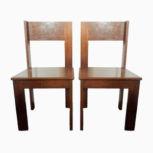 Dutch Bedroom Table and Chairs Set from L.O.V. Oosterbeek, 1920s, Set of 3