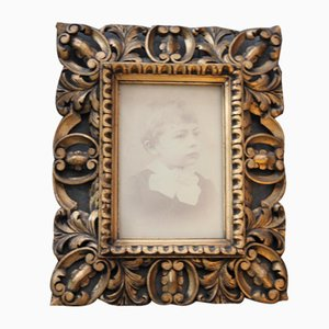Antique Italian Picture Frame with Black and White Photograph