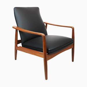 Easy Chair in Teak and Black Leather by Søren Ladefoged, 1960s