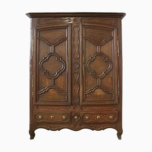 18th Century French Faux Front and Carved Oak Wardrobe