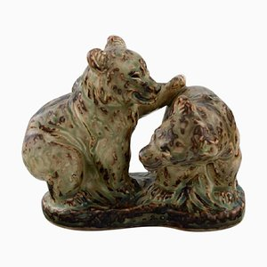 Stoneware Figure # 1915 Playful Bear Cubs by Knud Kyhn for Royal Copenhagen, 1960s