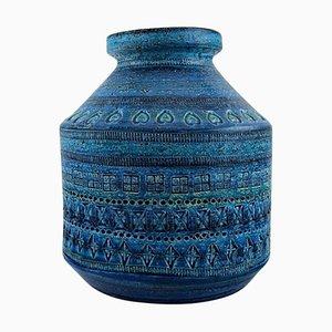 Large Vase in Rimini Blue Glazed Ceramic by Aldo Londi for Bitossi, 1960s