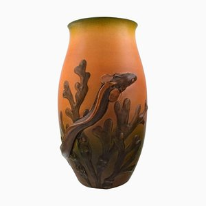 Art Nouveau Danish Ceramic Vase with Eelpout and Seaweed from Ipsen's