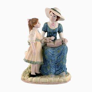 Große Skulptur aus glasierter Keramik Mutter mit Tochter von PAL, Spanien, 1980er