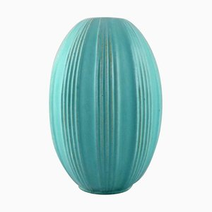 Large Glazed Ceramic Vase with Fluted Body by Michael Andersen, 1960s